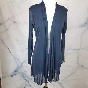 Sweaters - Navy Open-Front Transparent Cardigan